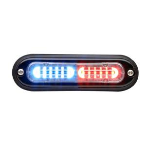 T-ION SPLIT LED Flitser, Rood/Wit, Oppervlakte montage, Ultralaag profiel